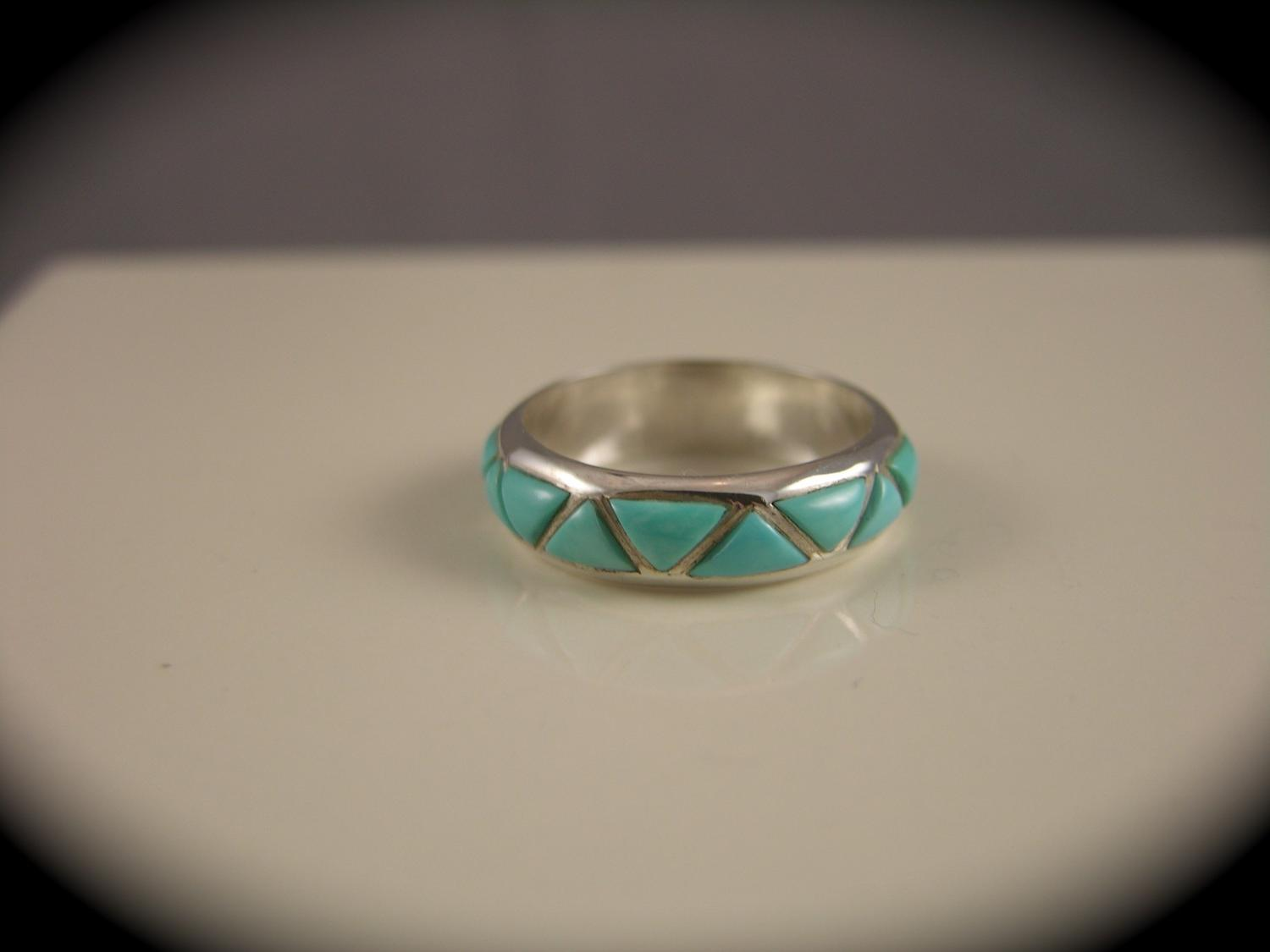 Silver Turquoise Wedding Band