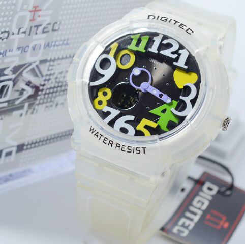 Jam Tangan Digitec white transfaran rubber ladies Original