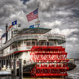Stemboat Natchez- Port of New Orleans by Laura Prieto - Transportation Boats ( water, clouds, new orleans, steamboat, fluvial, louisiana, nola, boat, mississippi, river )