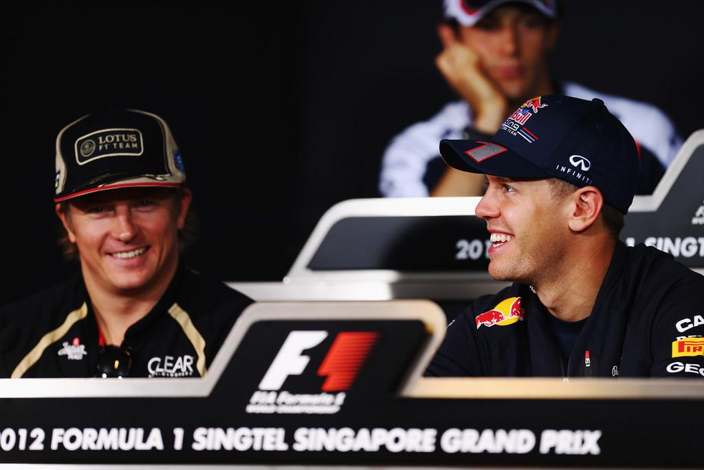 Кими Райкконен и Себастьян Феттель на пресс-конференции в четверг на Гран-при Сингапура 2012