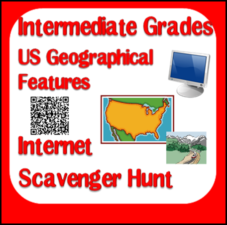 US Geographical Features - Free download to help students begin to research using the internet.