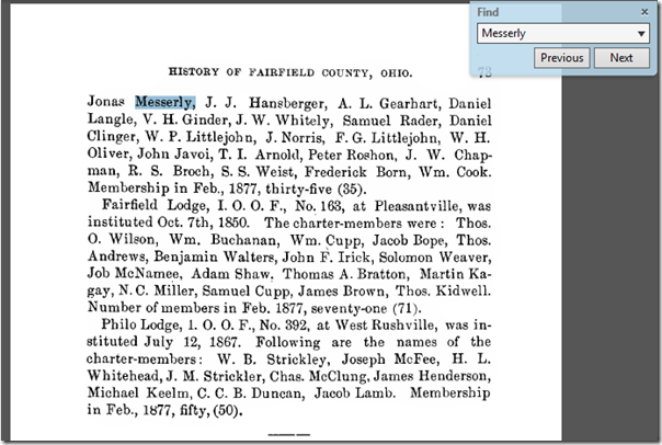 Mention of Jonas Messerly in a history of Fairfield County, Ohio