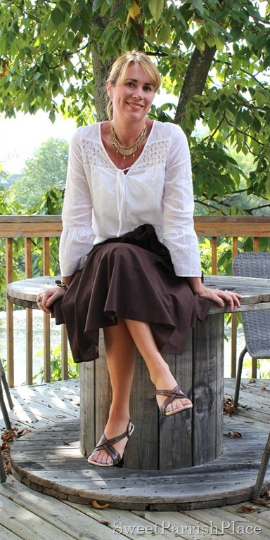 brown-midi-skirt-white-blouse2