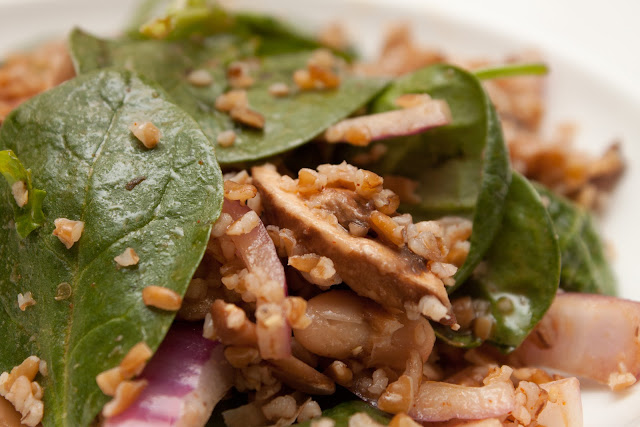 Bulgur, arugula, and cannellini salad