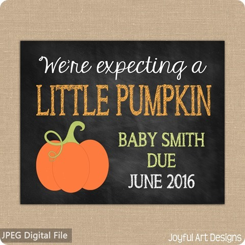 ETSY Listing Pumpkin Pregnancy Announcement expecting
