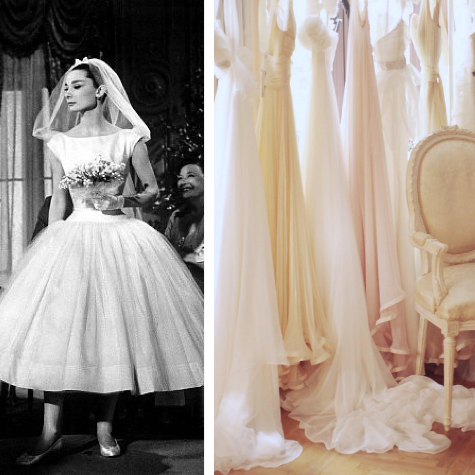 trying on wedding dresses