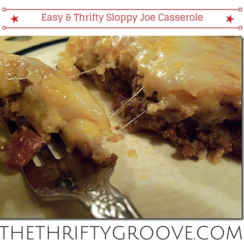 Easy & Thrifty Sloppy Joe Casserole Recipe! So yummy and quick. Stretch your grocery budget and one pound of hamburger with some beans for a very filling and tasty dinner meal. Leftovers can be froze. For full recipe stop by thethriftygroove.com