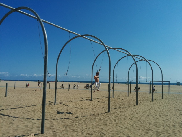 Swinging about at Muscle Beach, Santa Monica
