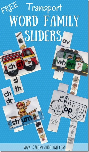 FREE Transportation Word Family Sliders (blends) - these are super cute and such a fun way for kindergarten, 1st grade, and 2nd grade kids to practice sounding out and reading blends. Print in color or black and white. (reading, language arts, homeschool, blends, word families, sliders, centers, free printables)
