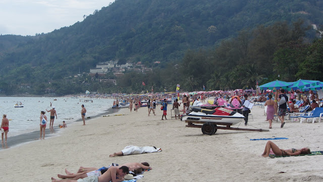 Patong's insanely crowded beach. Do people really come here for a relaxing vacation?