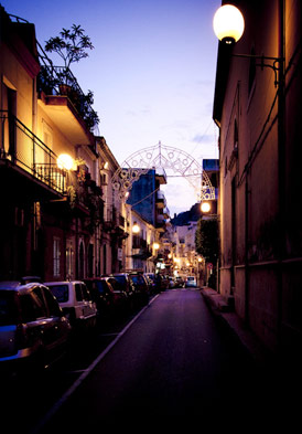 Giardini Naxos streets after dark