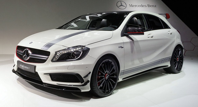 new 355hp mercedes benz a 45 amg bows at the geneva motor show w video. Black Bedroom Furniture Sets. Home Design Ideas