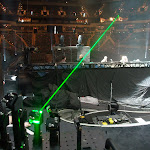 I check out Paisley's lasers while our gear is placed for the first time