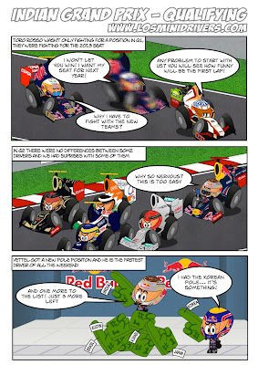 комикс Los MiniDrivers по квалификации Гран-при Индии 2012