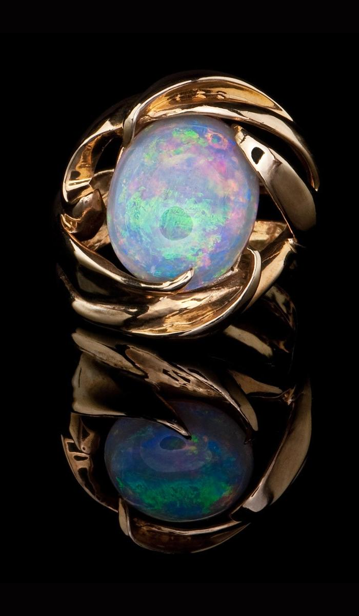 Round Opal and Gold Ring OR-