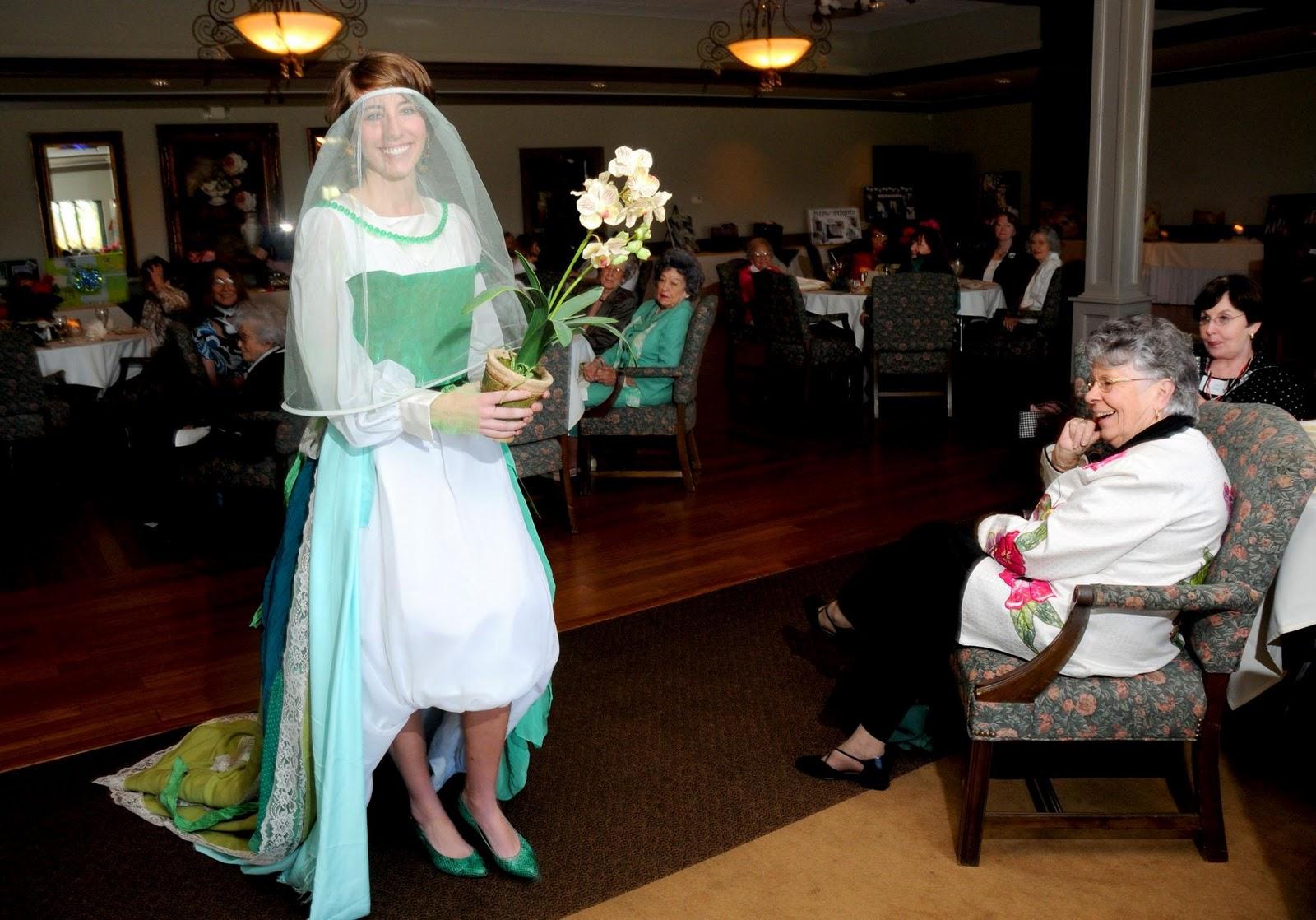 models a wedding dress she