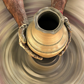 Clay Pottery in making by Rakesh Syal - Artistic Objects Cups, Plates & Utensils (  )