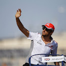 Jenson Button waves to the crowd