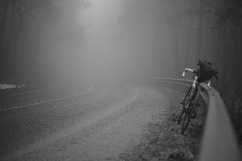 Misty riding.