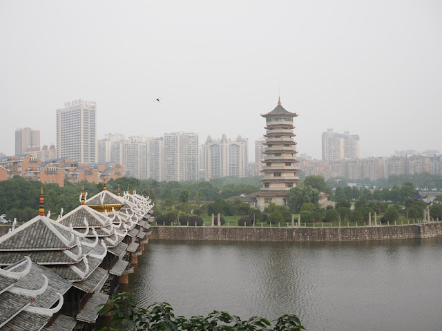 Fengyu Bridge over Yuejin Lake and Xiaoxiang Pavilion in Changsha