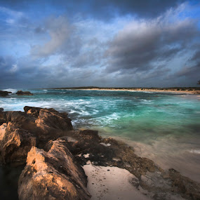 Beach at Cozumel by Cristobal Garciaferro Rubio - Landscapes Beaches ( water, clouds, sand, sky, sea, rocks, sun )