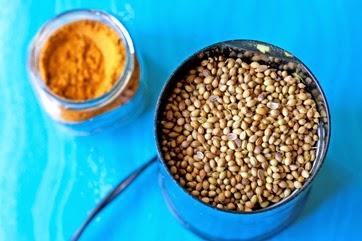 Coriander seeds in a spice grinder