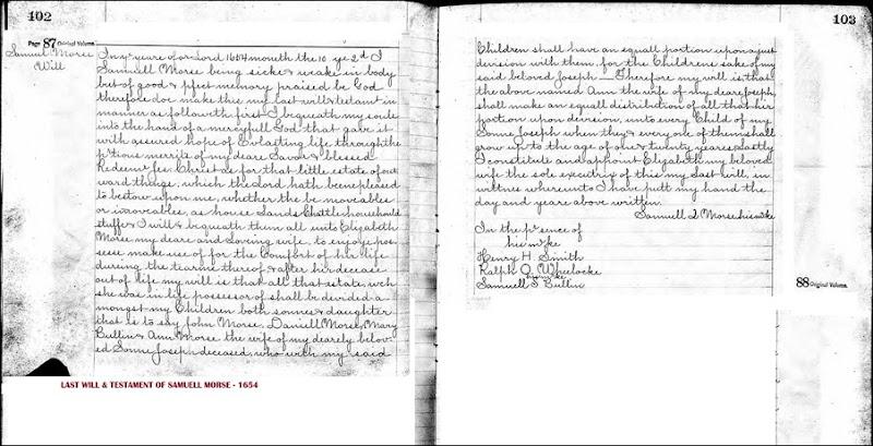 MORSE_Samuel_probate record_Oct 1654_Massachusetts_annotated