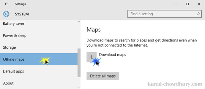 Windows 10 - Settings - System - Offline Maps (www.kunal-chowdhury.com)
