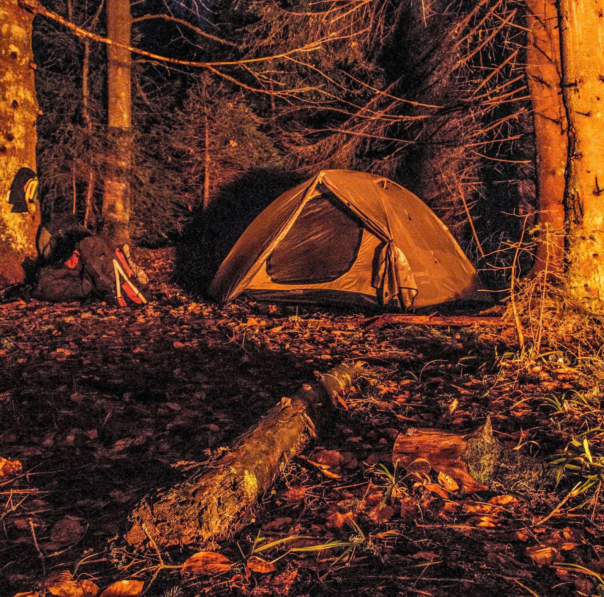 Табір в лісі, ніч в горах Перевал Німецький, руський путь