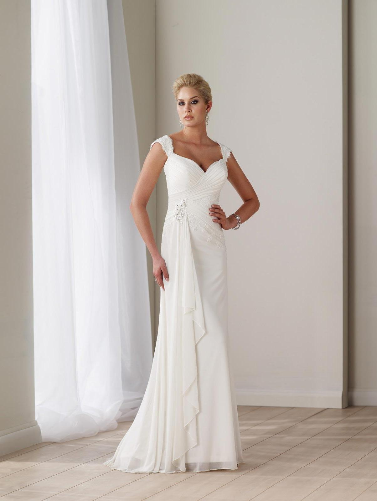Long Wedding Dresses Ivory Beaded Appliques Chiffon Staps.  228.00