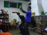 Iván y Emilio con una danza