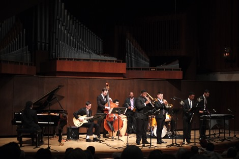 "Juilliard Jazz Ensemble performing the music of Israel ""Cachao"" Lopez and John Kirby at Paul Hall on March 30, 2015.<br /><br />Credit: Hiroyuki Ito"