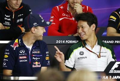 Себастьян Феттель и Камуи Кобаяши на пресс-конференции в четверг на Гран-при Японии 2014