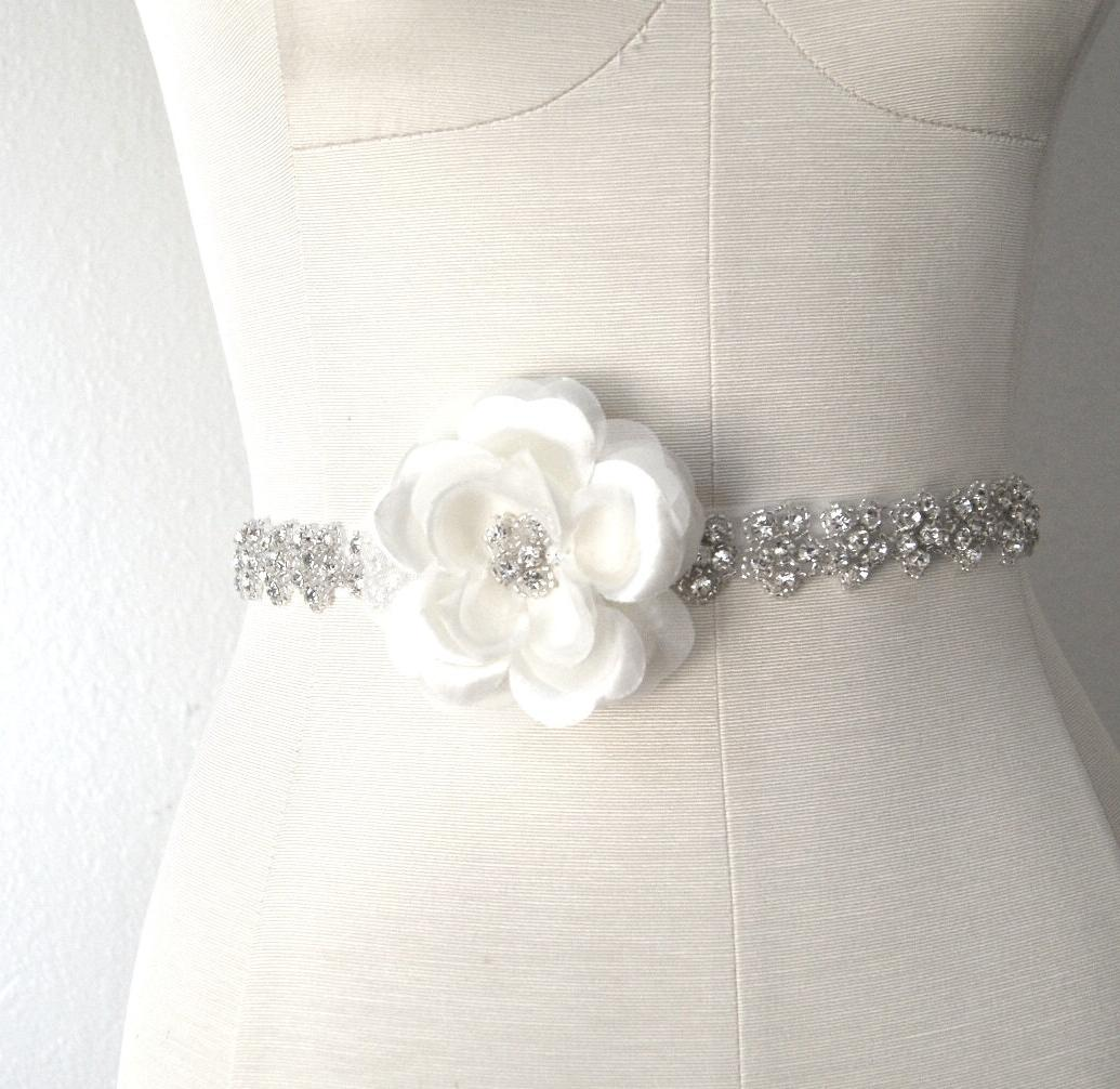 Ivory Crystal Bridal Sash FAYE Rhinestone and Satin Rose Bridal Sash