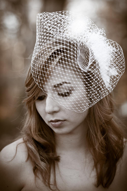black, ivory birdcage veil