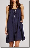 Mint Velvet dark blue smock dress with tie back, also in ivory and papaya