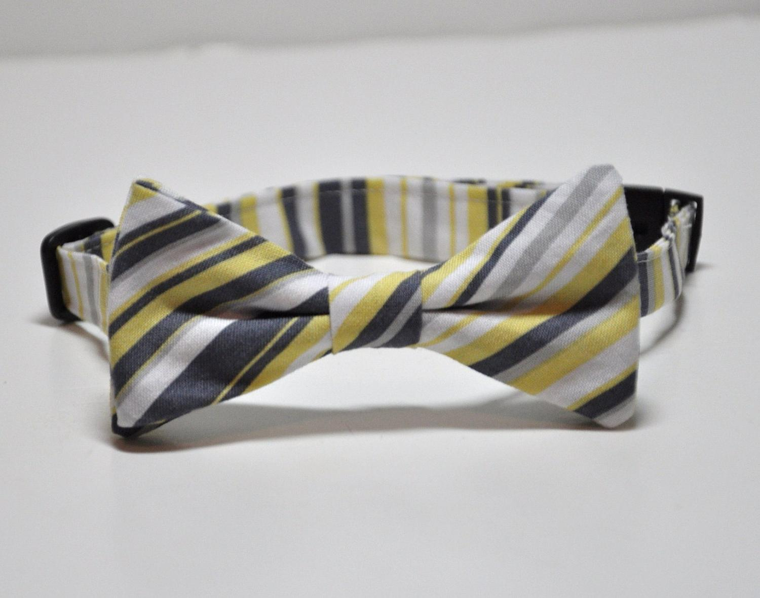 Yellow and Gray Bowtie for