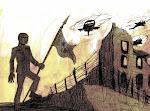 <strong>War Scene</strong> <em>Pencil and Digital Paint, 2010. Illustration for The General Case</em>