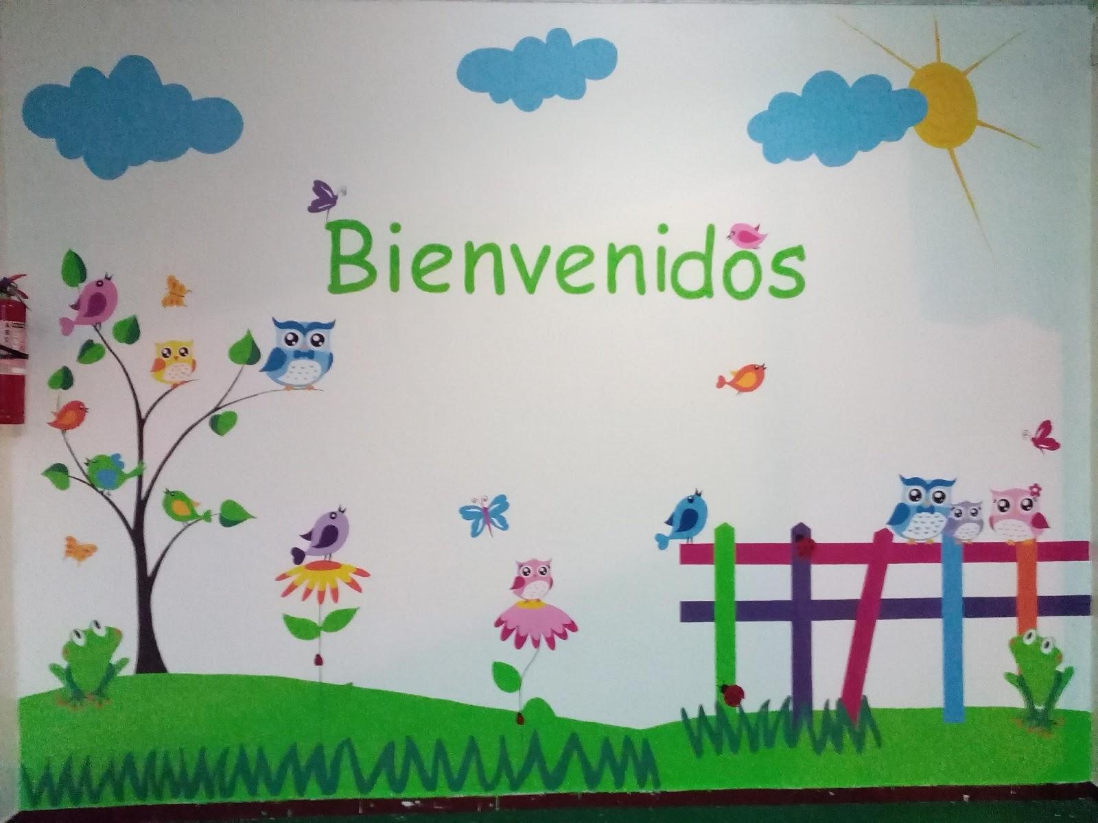 Murales creativos heidy guerrero colorido mural de for Mural de flores y mariposas