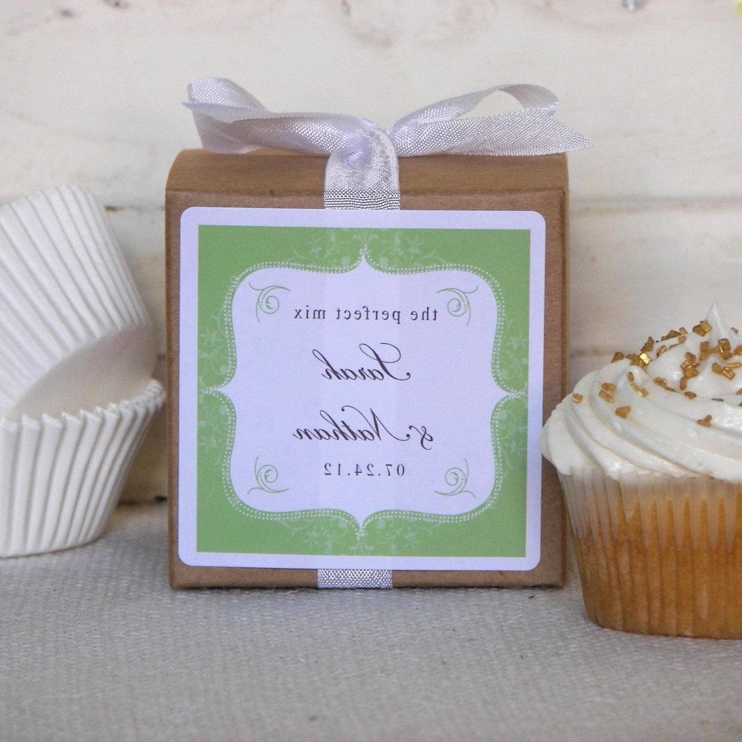 Personalized Wedding Favor Cupcake Mixes with Green Bella Label - set of 12