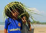 dzieci z kapeluszami z liści palmowych...