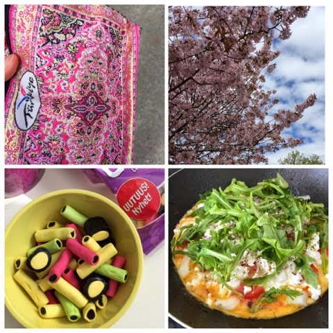 weekend snaps, weekend via iphone, weekend via phone, kirsikankukka, cherry blossom, omeletti, omelette, lakritsi, licorice,