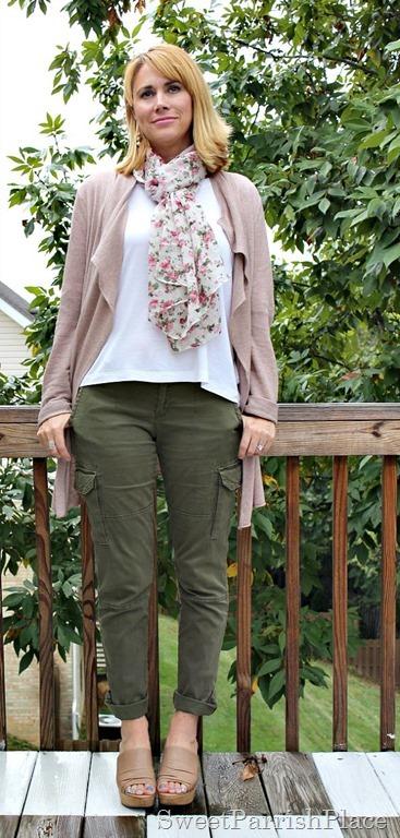 Army-green-pants flowy-cardigan-floral-scarf1