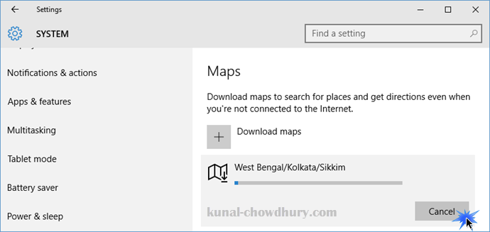 Windows 10 Offline Maps - Cancel a offline map download (www.kunal-chowdhury.com)
