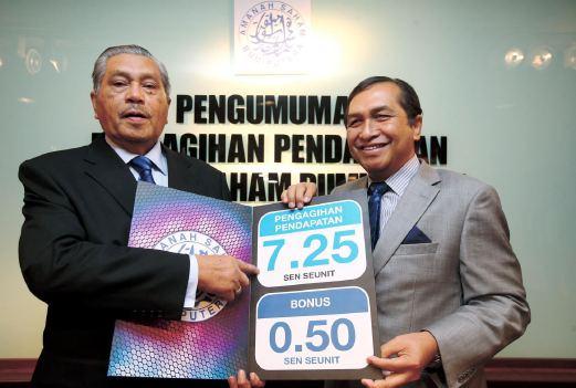 Agihan pendapatan 7.25 sen seunit dan bonus sebanyak 0.50 sen seunit bagi Skim Amanah Saham Bumiputera (ASB)