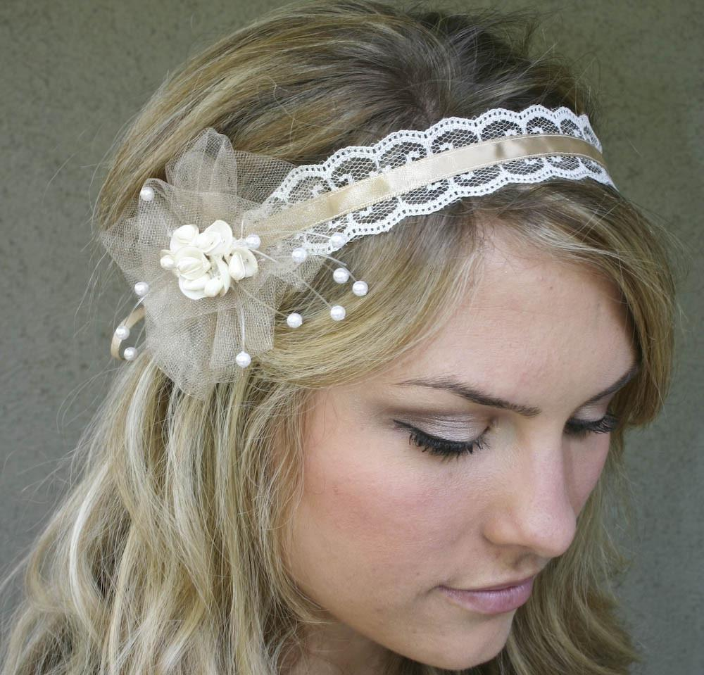 wedding headband, ribbon and shells tie headband. From BeSomethingNew