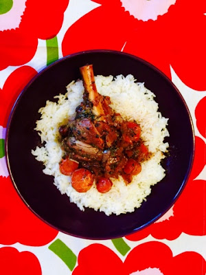 Braised Port and herb lamb shanks with white basmati rice