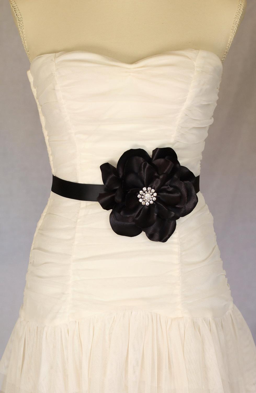 Annabel black bridal sash,