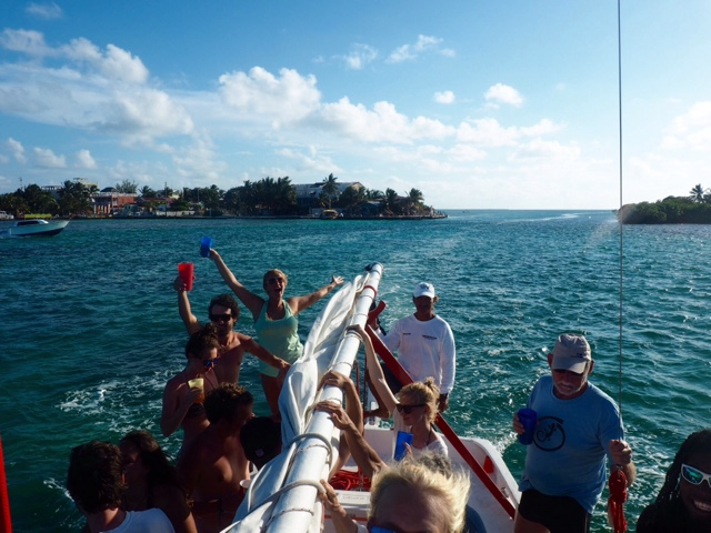 Boat party with Ragamuffin on Caye Caulker, Belize