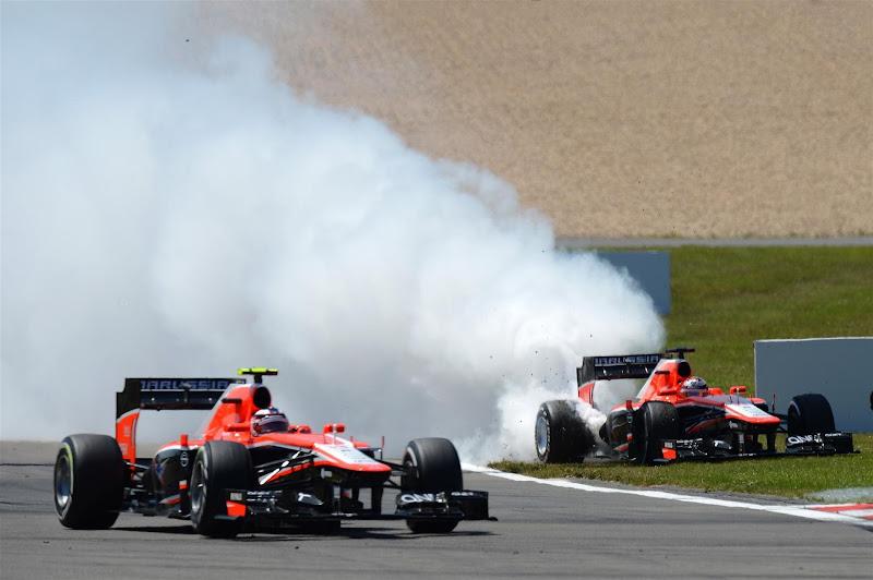 Marussia Жюля Бьянки дымящим мотором на Нюрбургринге на Гран-при Германии 2013